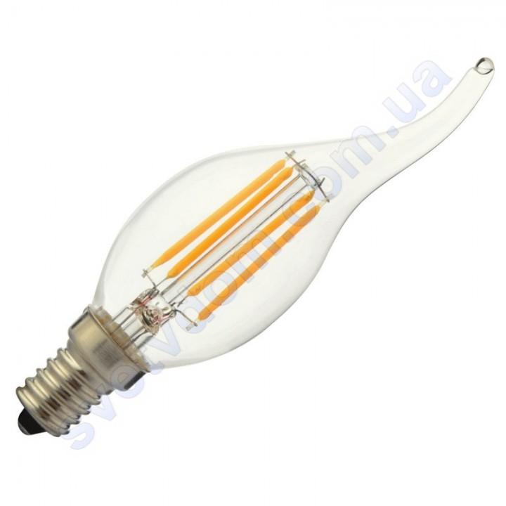 Лампа светодиодная Horoz Electric FLAME-6 6W (аналог 50Вт) CA35 E14 FILAMENT 001-014-0006