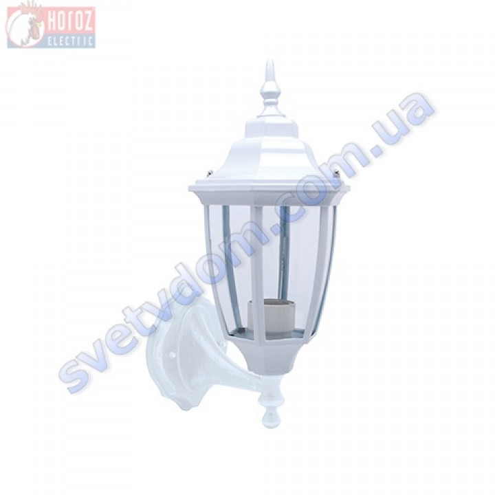 Світильник вуличний садово-парковий фасадний Horoz Electric LEYLAK-1 HL275 E27 60W, max IP44 білий-чорний алюміній 075-013-0001