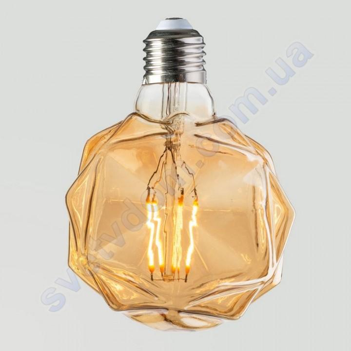 Лампа Едісона світлодіодна Horoz Electric RUSTIC CRYSTAL-4 4W (аналог 30Вт) КРИСТАЛ E27 FILAMENT 001-036-0004