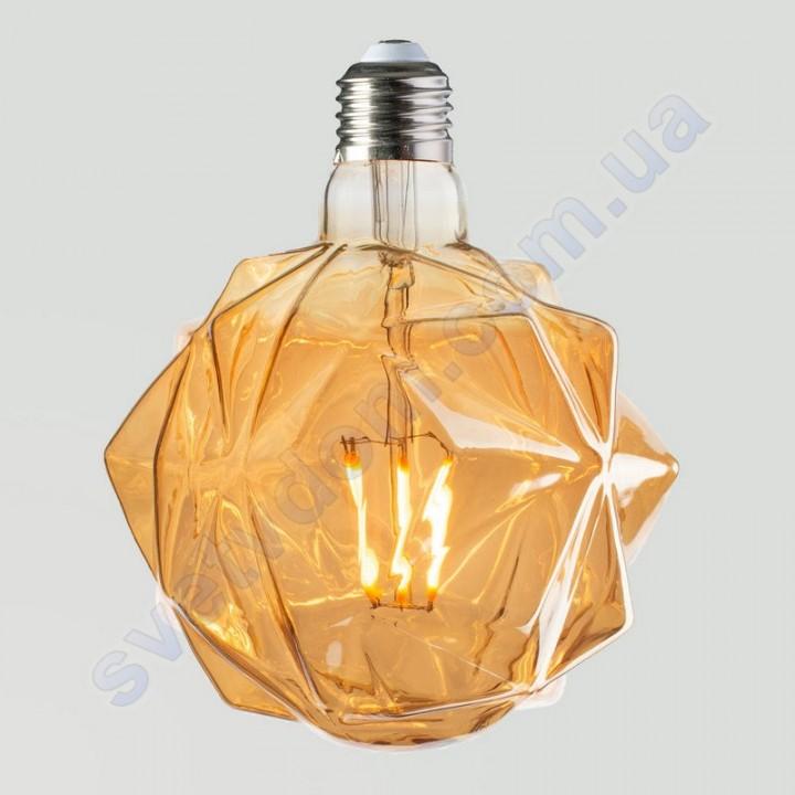 Лампа Едісона світлодіодна Horoz Electric RUSTIC CRYSTAL-6 6W (аналог 50Вт) КРИСТАЛ E27 FILAMENT 001-036-0006