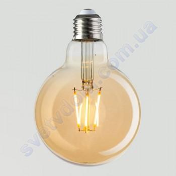 Лампа Эдисона светодиодная Horoz Electric RUSTIC GLOBE-4 4W (аналог 30Вт) ШАР E27 FILAMENT 001-030-0004