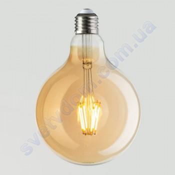 Лампа Едісона світлодіодна Horoz Electric RUSTIC GLOBE-6 6W (аналог 50Вт) КУЛЯ E27 FILAMENT 001-030-0006