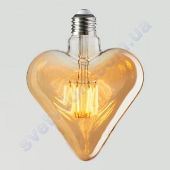 Лампа Эдисона светодиодная Horoz Electric RUSTIC HEART-6 6W (аналог 50Вт) СЕРДЦЕ E27 FILAMENT 001-032-0006