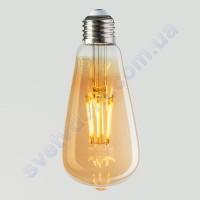Лампа Едісона світлодіодна Horoz Electric RUSTIC VINTAGE-6 6W (аналог 50Вт) ВІНТАЖ E27 FILAMENT 001-029-0006