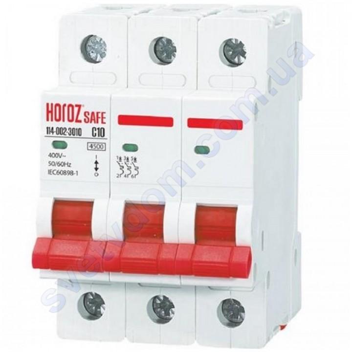 Автоматичний Вимикач Horoz Electric SAFE C10 3Р 4,5 кА 114-002-3010
