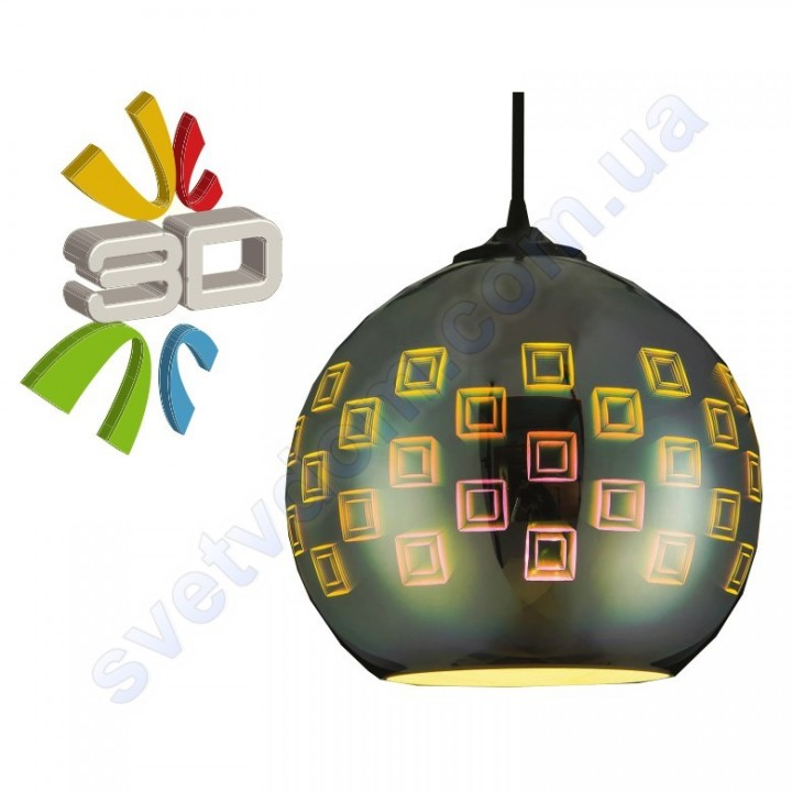 Светильник подвесной 3D эффект Horoz Electric SPECTRUM-1 стекло E27 021-005-0001