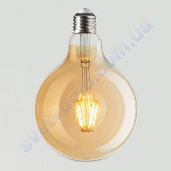 Лампа Эдисона светодиодная Horoz Electric RUSTIC GLOBE-6 6W (аналог 50Вт) ШАР E27 FILAMENT 001-030-0006