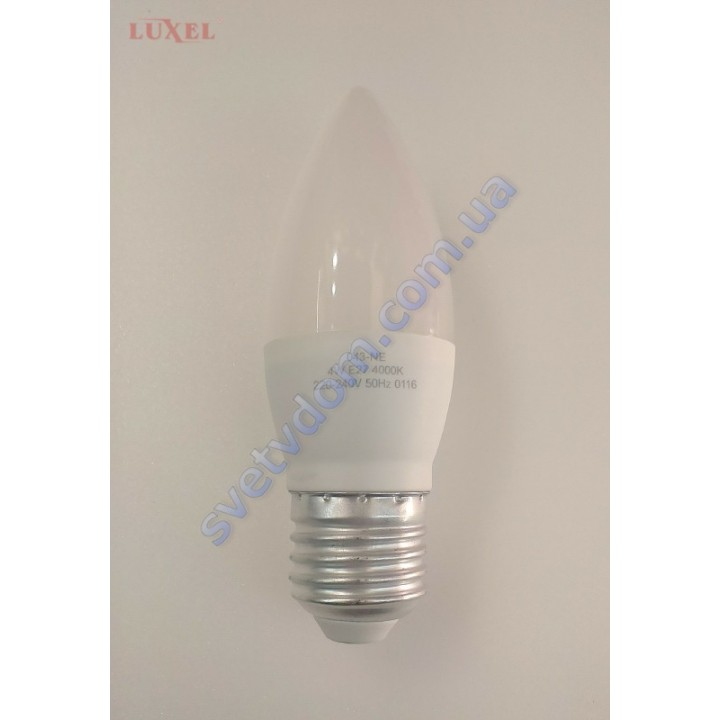 Лампа светодиодная LUXEL LED 043-NЕ 4W (аналог 35Вт) C37 4000K E27 ECO