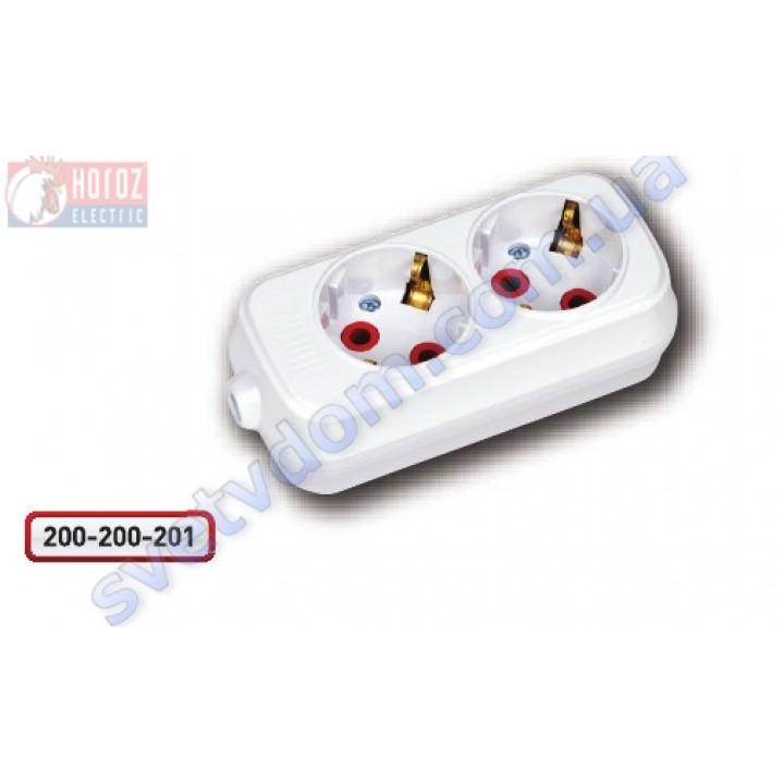 Колодка для подовжувача Horoz Electric 2 гнізда з заземленням 250V 16A