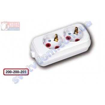Колодка для удлинителя Horoz Electric 2 гнезда с заземлением 250V 16A